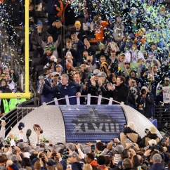 EAST RUTHERFORD, NJ - FEBRUARY 02: Head coach Pete Carroll of the Seattle Seahawks celebrates their 43 to 8 win over the Denver Broncos during Super Bowl XLVIII at MetLife Stadium on February 2, 2014 in East Rutherford, New Jersey. (Photo by Christian Petersen/Getty Images)